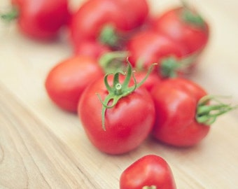 tomato food photography / red, garden, vegetable, still life, kitchen decor, eat local, organic food / vine-ripened / 8x10 fine art photo