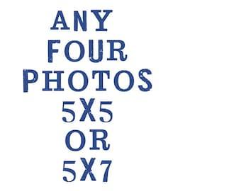 set of 4 5x5 fine art photographs / customize, your choice, home decor