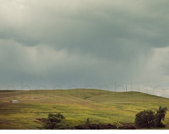 hills landscape photography / gray skies, grey clouds, rolling hills, summer storm / hills / 8x8 fine art nature photograph