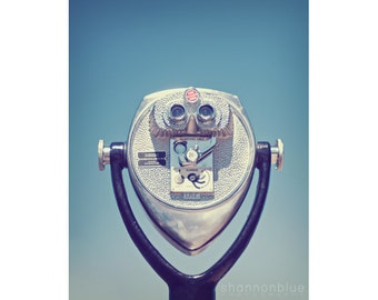 travel photography, binoculars , tourist, blue, vintage / face with a view / 8x10 fine art photography