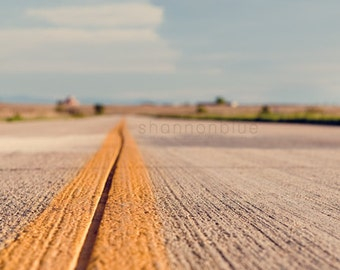 airport runway, travel photography, road, street, pavement, travel, transportation, stripe, runway, mustard yellow / 8x12 fine art photo