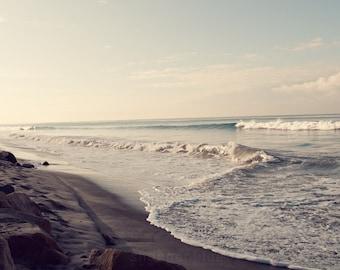 ocean waves beach nature photograph / water, coast, california, blue, serene, zen / waves / 8x10 fine art photo