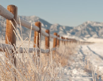 landscape photography, winter, mountain, snow, colorado, fence, rockies, blue sky, nature photography / rocky mountain snow