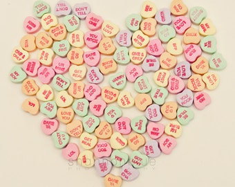 candy heart photography / conversation heart, love, romantic, message, valentine's day, pattern / heart to heart / 8x8
