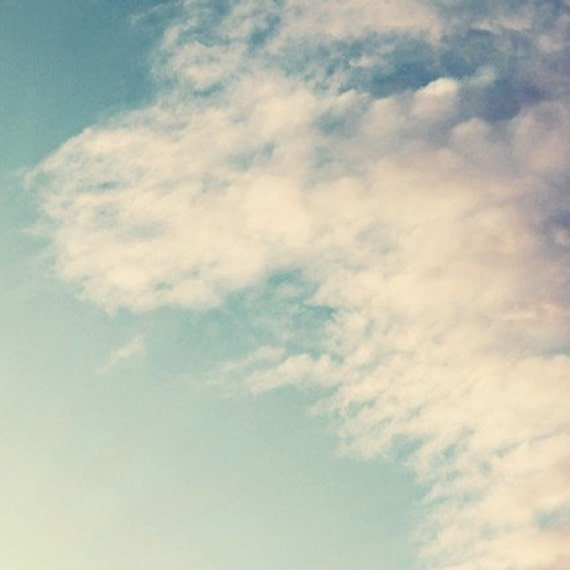 cloud photography / blue, white, fluffy, light, cotton, fluff, nature photography, minimalist / puffy / 8x8 fine art photo