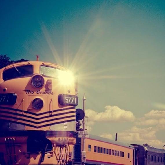 train photography / locomotive, travel, transportation, sun, gold, golden, yellow, blue, aquamarine / choo choo flare