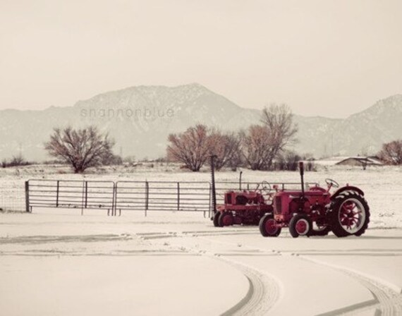 winter farm photography / snow, farm photography, tractor, landscape photography, christmas decor, holiday decor / white, red / snow day
