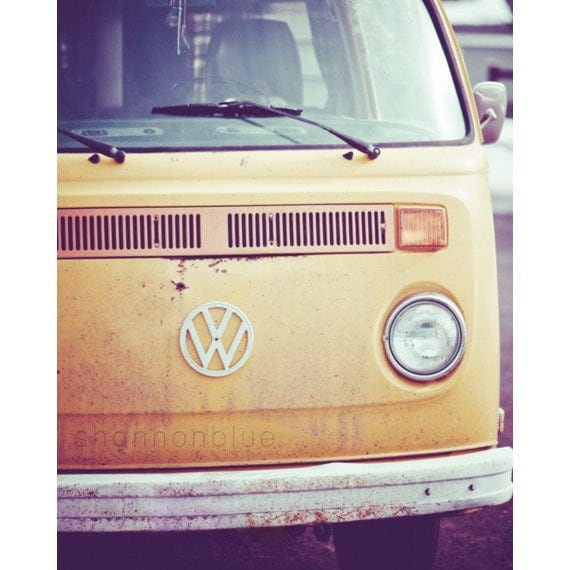 vintage volkswagen bus car photography / van, retro, mustard yellow, car, transportation, hippie / vw / 8x10 fine art photograph