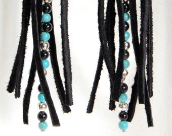 Black Leather Fringe Earrings with Turquoise, Black and Silver Bead Accent, Southwestern Earrings, Boho Earrings, Shoulder Duster Earrings