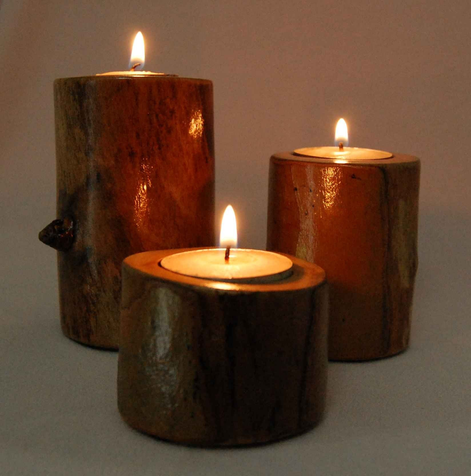 Rustic wood tealight candle holders Wood candle holders