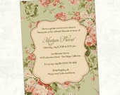 English Garden Rose Bridal Shower or Baby Shower Invitation   Printable, Digital File