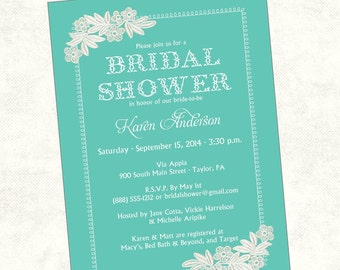 Lace Bridal Shower Invitation   Printable, Digital File