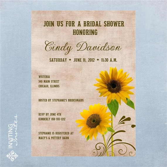Sunflower Bridal Shower Invitation Printable, Digital File