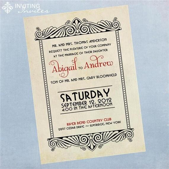 Art Deco Wedding Invitation: Art Deco Vintage Wedding Invitation Printable By