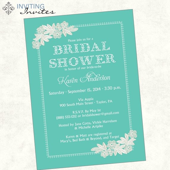 Wedding Gift Card Sayings: Lace Bridal Shower Invitation Printable Digital File