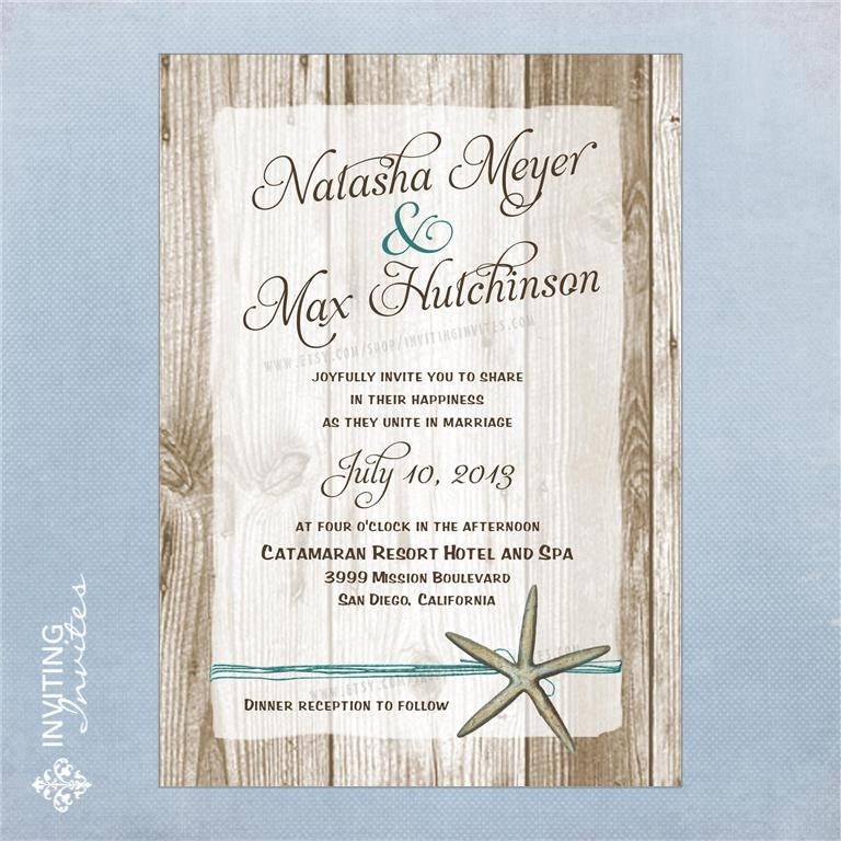 Beach Wedding Invitation Wording: Starfish Wedding Invitation Destination Beach By