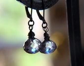 Blue crystal denim Quartz Earrings oxidized .925 sterling silver