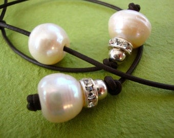 HUGE White Pearls handcrafted Leather Necklace Sterling Silver