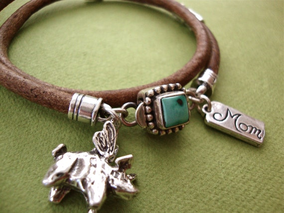 RESRVED for Cheryl Leather bracelet Sterling Silver NO flying pig