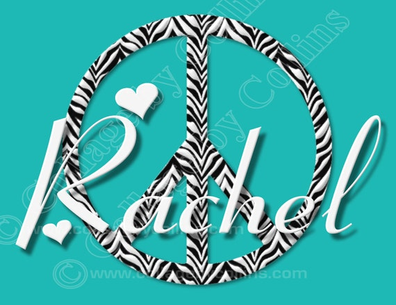 Zebra print peace sign wall decor : Personalized poster zebra wall art peace sign name print girl