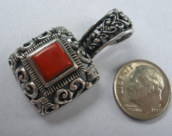 Hand Made Sterling SIlver and Red Carnelian Pendant Made by Artist Designer