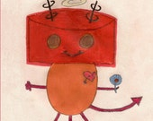 Devil and Angel Robot Holding a Flower by 9 year old Hanna