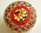 Gold vintage red glass mini mosaic floral brooch