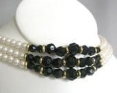 Vintage triple strand faux pearl and black beaded choker