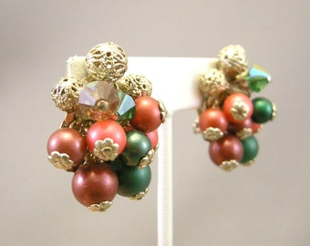 Vintage green and burgundy beaded cluster earrings, clip on