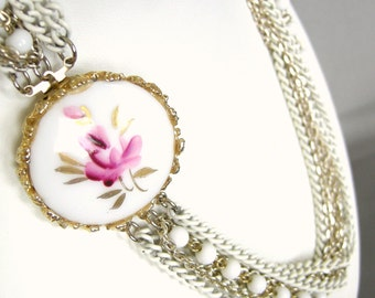 Vintage multi strand white chain necklace with hand painted clasp