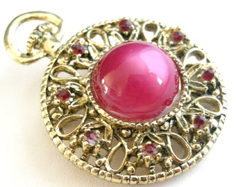 Vintage Gerry's pocket watch style brooch with pink Lucite cab, rhinestones
