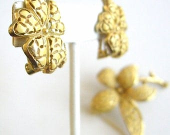 Vintage gold tone and yellow enamel flower set, matching earrings and brooch