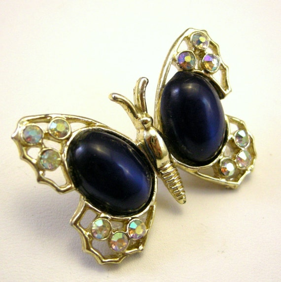 3 for 15 FREE SHIPPING - Vintage gold butterfly brooch with royal blue cab wings, AB rhinestones