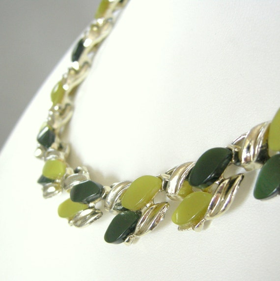 Vintage gold collar necklace with lime, olive green thermoset cabs