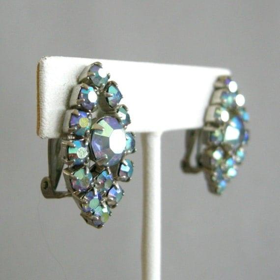 Vintage clip on earrings with prong-set aurora borealis blue rhinestones