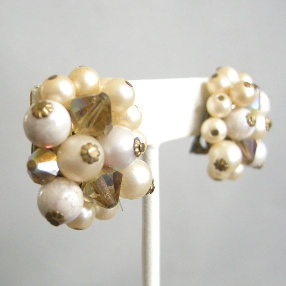 Vintage cream and champagne beaded cluster earrings with crystallized beads