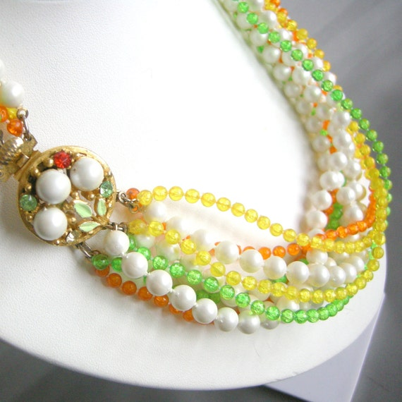 Vintage yellow, green, orange, and pearl beaded multi strand necklace with cluster clasp