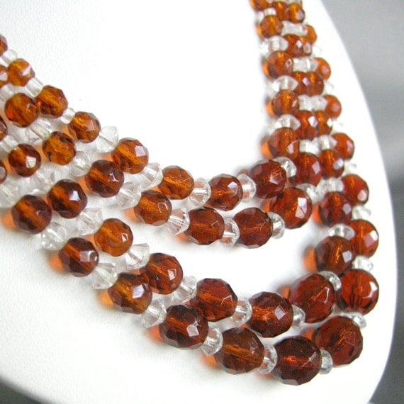 Vintage West German amber and clear glass beaded multi strand necklace