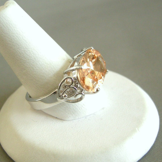 Silver tone cocktail ring with champagne glass setting, size 8
