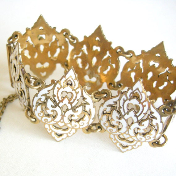 Vintage Siam gold tone panel bracelet with Eastern design, white enamel