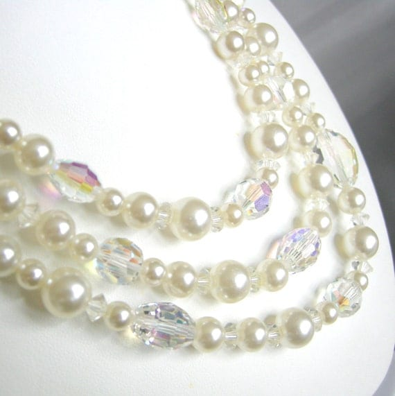 Vintage triple strand faux pearl and crystallized glass beaded necklace