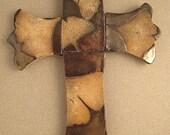 Ginko Leaf Embossed Cross