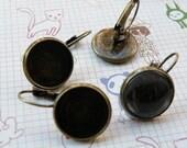 Earring Base 40pcs Antique Bronze Cabochon Earring Setting 18mm Pad M52--20% OFF
