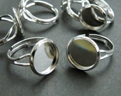 Ring Blanks -- 50pcs Adjustable Bright Silver Ring Base 12mm pad H80--20% OFF