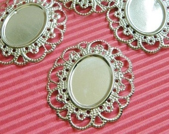 10cs Antique Silver Filigree Oval Cameos /Cabochons Settings Wire Base S08--20% OFF