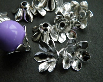 50pcs 12mm Bright Silver TrumpetFlower Bead Caps h11