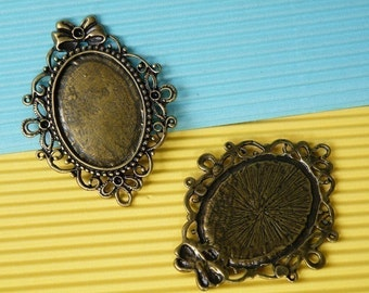 Cameo Setting 6pcs 58x41mm Antique Bronze Cabochons Settings Cameo Base 19983--20% OFF