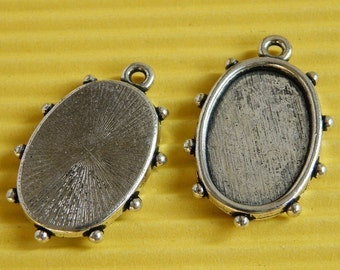 Cameo Setting 10pcs 14x20mm Antique Silver Cabochons Settings Cameo Base 17596