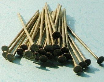 250pcs 25mm Antique Bronze Headpins r200