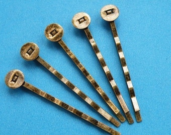 60PCS 50mm Antique Bronze Hair Pins with 8mm Pad H146